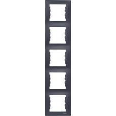 SDN5801570 Декоративная рамка 5-постовая вертикальная Sedna. Цвет Графит