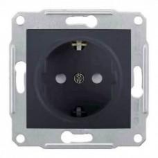 SDN3000170 Розетка с заземлением и защитными шторками 16А Sedna. Цвет Графит