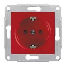 SDN3000341 Розетка с заземлением и защитными шторками 16А Sedna. Цвет Красный