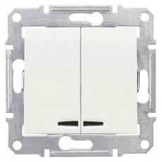 SDN0300123 2-клавишный выключатель 10 A серии Sedna. Цвет Слоновая кость