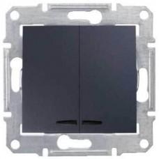 SDN0300370 Двухклавишный выключатель с подсветкой 10A серии Sedna. Цвет Графит