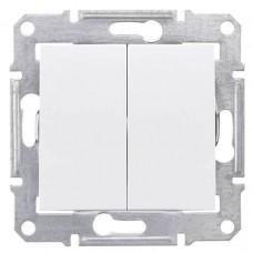 SDN0300421 Двухклавишный выключатель 10A IP44 серии Sedna. Цвет Белый