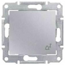 SDN0800160 Кнопочный выключатель с символом «звонок» 10A серии Sedna. Цвет Алюминий