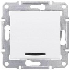 SDN0201121 Одноклавишный двухполюсный выключатель с индикацией 10A серии Sedna. Цвет Белый