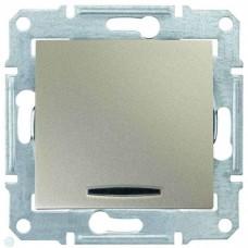 SDN0201168 Одноклавишный двухполюсный выключатель с индикацией 10A серии Sedna. Цвет Титан