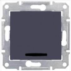 SDN0201170 Одноклавишный двухполюсный выключатель с индикацией 10A серии Sedna. Цвет Графит