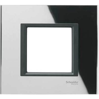 """MGU68.002.7C1 Рамка 1-постова """"чорне дзеркало"""" Unica Class"""