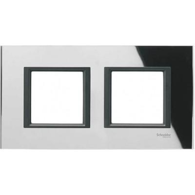 """MGU68.004.7C1 Рамка 2-постова """"чорне дзеркало"""" Unica Class"""