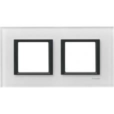 Рамка 2-постовая белое стекло Unica Class MGU68.004.7C2