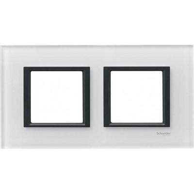 "Рамка 2-постова ""біле скло"" Unica Class MGU68.004.7C2"