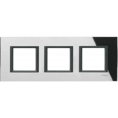 """MGU68.006.7C1 Рамка 3-постова """"чорне дзеркало"""" Unica Class"""