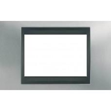 Рамка 3-модульная Итальянский дизайн Unica Top. Цвет Матовый хром/Графит MGU66.103.238