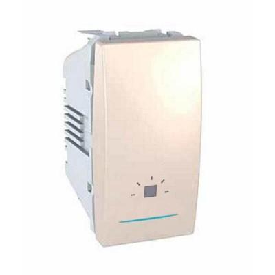"""MGU3.106.25LN Одноклавишный кнопочный выключатель с индикационной подсветкой, символ """"свет"""" Unica 10А"""