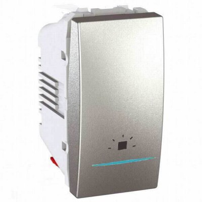 """MGU3.106.30LN Одноклавишный кнопочный выключатель с индикационной подсветкой, символ """"свет"""" Unica 10А"""