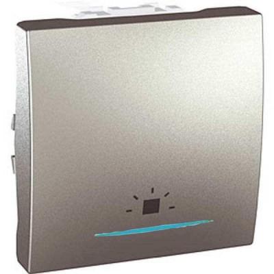 """MGU3.206.30LN Одноклавишный кнопочный выключатель с индикационной подсветкой, символ """"свет"""" Unica 10А"""