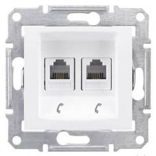 SDN4201121 Телефонная розетка двойная RJ11 Sedna. Цвет Белый