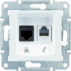 SDN5200121 PC + телефонная розетка RJ11 + RJ45, кат. 6, неэкранированная Sedna. Цвет Белый