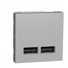 Розетка USB двойная Unica New 2.1А 2 модуля алюминий (NU341830)