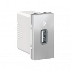 Розетка USB 1 модуль 1A Unica New алюминий (NU342830)