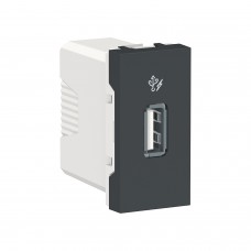 Розетка USB 1 модуль 1A Unica New антрацит (NU342854)