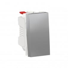 Выключатель 1-клавишный кнопочный схема 1 10А, 1 модуль алюминий
