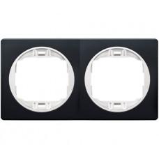 """Рамка двойная горизонтальная Aling Conel EON. Цвет """"Мягкий черный"""" с белой вставкой (E6701.E10)"""