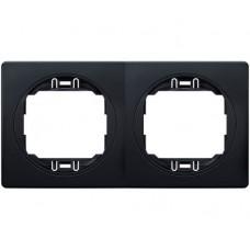 """Рамка двойная горизонтальная Aling Conel EON. Цвет """"Мягкий черный"""" с черной вставкой (E6701.E1E)"""
