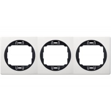"""Рамка тройная горизонтальная Aling Conel EON. Цвет """"Белый"""" с черной вставкой (E6703.0E)"""