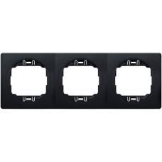"""Рамка тройная горизонтальная Aling Conel EON. Цвет """"Мягкий черный"""" с черной вставкой (E6703.E1E)"""