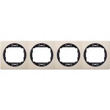 """Рамка четырехместная горизонтальная Aling Conel EON. Цвет """"Кремовый"""" с черной вставкой (E6704.9E)"""