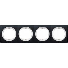 """Рамка четырехместная горизонтальная Aling Conel EON. Цвет """"Мягкий черный"""" с белой вставкой (E6704.E10)"""