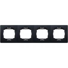 """Рамка четырехместная горизонтальная Aling Conel EON. Цвет """"Мягкий черный"""" с черной вставкой (E6704.E1E)"""