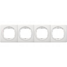 """Рамка четырехместная горизонтальная Aling Conel EON. Цвет """"Белый"""" с белой вставкой (E6704.00)"""