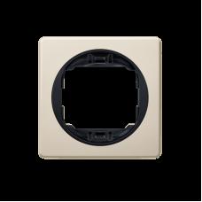 """Рамка одинарная Aling Conel EON. Цвет """"Кремовый"""" с черной вставкой (E6801.9E)"""