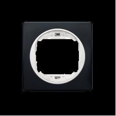 """Рамка одинарная Aling Conel EON. Цвет """"Мягкий черный"""" с белой вставкой (E6801.E10)"""