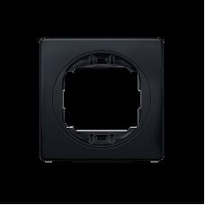 """Рамка одинарная Aling Conel EON. Цвет """"Мягкий черный"""" с черной вставкой (E6801.E1E)"""