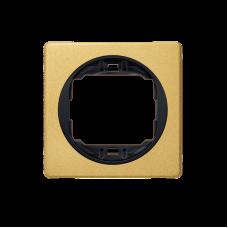 """Рамка одинарная Aling Conel EON. Цвет """"Золотой"""" с черной вставкой (E6801.GE)"""
