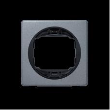 """Рамка одинарная Aling Conel EON. Цвет """"Античное серебро"""" с черной вставкой (E6801.S1E)"""