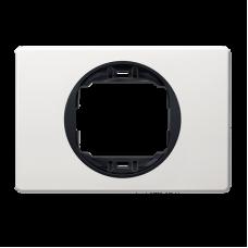 """Рамка одинарная широкая Aling Conel EON. Цвет """"Белый"""" с черной вставкой (E6803.0E)"""
