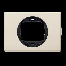 """Рамка одинарная широкая Aling Conel EON. Цвет """"Кремовый"""" с черной вставкой (E6803.9E)"""