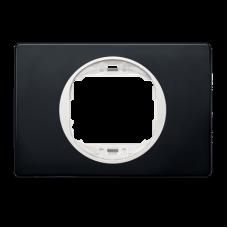 """Рамка одинарная широкая Aling Conel EON. Цвет """"Мягкий черный"""" с белой вставкой (E6803.E10)"""