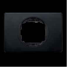"""Рамка одинарная широкая Aling Conel EON. Цвет """"Мягкий черный"""" с черной вставкой (E6803.E1E)"""