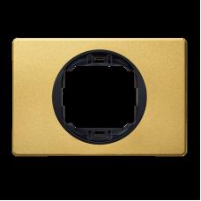 """Рамка одинарная широкая Aling Conel EON. Цвет """"Золотой"""" с черной вставкой (E6803.GE)"""