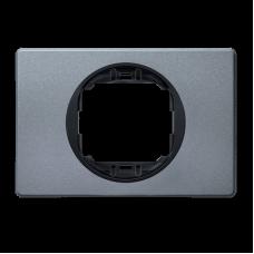 """Рамка одинарная широкая Aling Conel EON. Цвет """"Античное серебро"""" с черной вставкой (E6803.S1E)"""