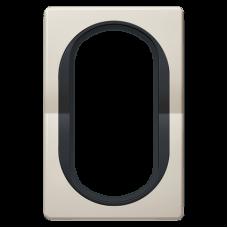 """Рамка под двойную розетку E604 Aling Conel EON. Цвет """"Кремовый"""" с черной вставкой (E6805.9E)"""