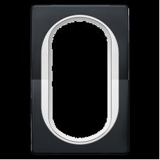 """Рамка под двойную розетку E604 Aling Conel EON. Цвет """"Мягкий черный"""" с белой вставкой (E6805.E10)"""