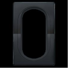 """Рамка под двойную розетку E604 Aling Conel EON. Цвет """"Мягкий черный"""" с черной вставкой (E6805.E1E)"""