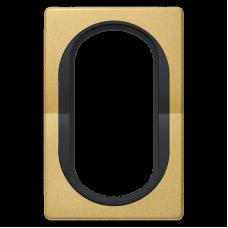 """Рамка под двойную розетку E604 Aling Conel EON. Цвет """"Золотой"""" с черной вставкой (E6805.GE)"""