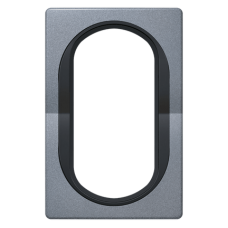 """Рамка под двойную розетку E604 Aling Conel EON. Цвет """"Античное серебро"""" с черной вставкой (E6805.S1E)"""