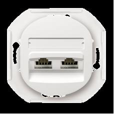 "Розетка компьютерная двойная RJ45 CAT5E UTP Aling Conel EON. Цвет ""Белый"" (E614.0)"